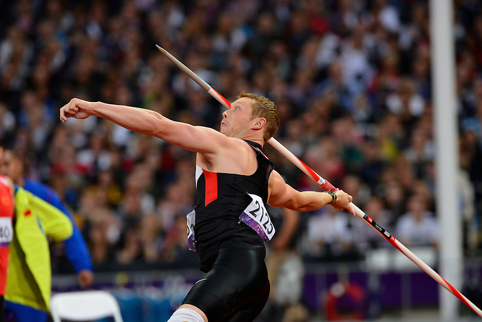 LONDON, ENGLAND 02/09/2012 - Alister McQueen competes in the Men's Javelin Throw Final at the London 2012 Paralympic Games in the Olympic Stadium. (Photo: Phillip MacCallum/Canadian Paralympic Committee)