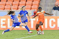 Houston, TX - Wednesday June 28, 2017: Allysha Chapman attempts to strip the ball from Nichelle Prince during a regular season National Women's Soccer League (NWSL) match between the Houston Dash and the Boston Breakers at BBVA Compass Stadium.