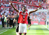 27th May 2018, Wembley Stadium, London, England;  EFL League 1 football, playoff final, Rotherham United versus Shrewsbury Town; Semi Ajayi of Rotherham United celebrates with a winners medal