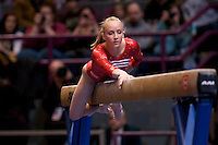 3/1/08 - Photo by John Cheng -  Nastia Liukin of the United States performs on the balance beam at the Tyson American Cup in Madison Square GardenPhoto by John Cheng - Tyson American Cup 2008 in Madison Square Garden, New York.Nastia Liukin
