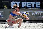 ST. PETERSBURG, FL - JUNE 18: Jennifer Kessy bumps the ball during her and her partner Emily Day's match against Gallay/Klug of Argentina during the FIVB Beach Volleyball World Tour St. Petersburg Grand Slam presented by the AVP on June 18, 2015 at Spa Beach in St. Petersburg, Florida. (Photo by Donald Miralle for the AVP)