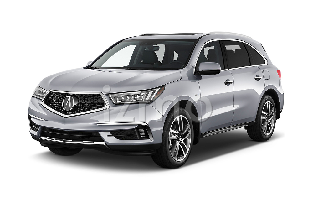 2018 Acura MDX Sport Hybrid Advance Package 5 Door SUV angular front stock photos of front three quarter view