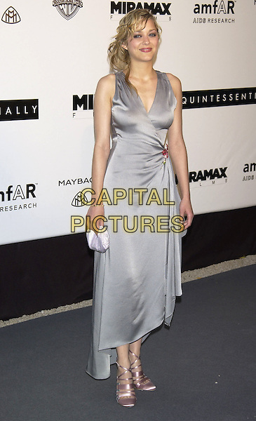 Marion Cotillard.Arrivals at  amfAR 's Cinema Against Aids 2004.at Le Moulin de Mougins,.Cannes Film Festival, .France, 20th May 2004..full length long grey satin wrap over dress .sales@capitalpictures.com.www.capitalpictures.com.©Capital Pictures
