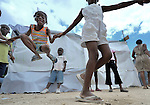 Children playing in a camp for families left homeless in Petionville in the wake of a devastating earthquake that shook the Caribbean island nation of Haiti on January 12. The ACT Alliance provides a variety of services in this camp.
