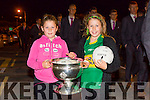 The Home Coming -The  kerry Minor Team are Welcomed back to Dingle on Tuesday Pictured Hayley Getkate and Kayla Getkate with the  Tom Markham Cup
