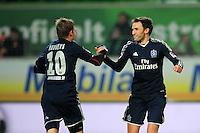 FUSSBALL   1. BUNDESLIGA    SAISON 2012/2013    15. Spieltag   VfL Wolfsburg - Hamburger SV                               02.12.2012 Artjoms Rudnevs und Milan Badelj (v.l., beide Hamburger SV) freuen sich nach dem 0:1