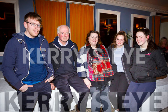 Attending the Kerry Fianna Fail Comhairle Dail Ceantair, convention in the Ballygarry House Hotel on Sunday night last. L-r, Michael Hickey, James Carroll (Ardfert), Sheila, Cora and Saoirse O'Carroll.
