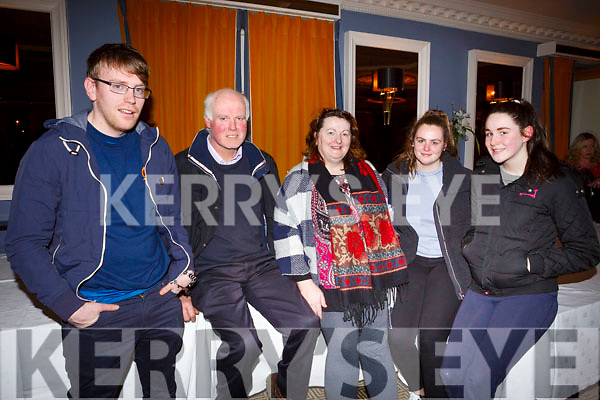 Attending the Kerry Fianna Fail Comhairle Dail Ceantair, convention in the Ballygarry House Hotel on Sunday night last. L-r, Michael Hickey, James Carroll (Ardfert), Sheila, Cora and Saoirse O'Carroll.