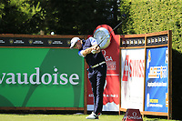 Matthew Southgate (ENG) tees off the 9th tee during Saturday's Round 3 of the 2018 Omega European Masters, held at the Golf Club Crans-Sur-Sierre, Crans Montana, Switzerland. 8th September 2018.<br /> Picture: Eoin Clarke | Golffile<br /> <br /> <br /> All photos usage must carry mandatory copyright credit (&copy; Golffile | Eoin Clarke)