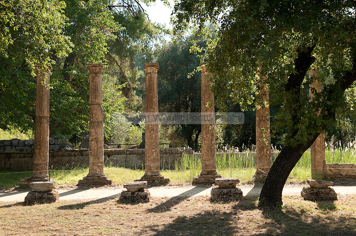 Colonnade in the palestra, surrounding the wrestling arena, (3rd Cent. BC) at the Olympic Archaeological site, Olympia, Greece