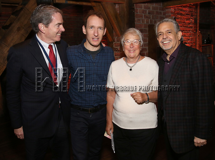 President of the Gilder Lehrman Institute, James Basker, producer Jeffrey Seller and Luis Miranda present a retirement gift to Chancellor of NYC Department of Education Carmen Farina from eduHAM and the cast of Broadway's 'Hamilton' at The Richard Rodgers Theatre on April 25, 2018 in New York City.