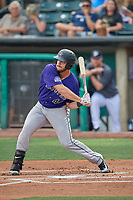 Roberto Ramos (44) of the Albuquerque Isotopes at bat against the Salt Lake Bees at Smith's Ballpark on July 25, 2019 in Salt Lake City, Utah. The Bees defeated the Isotopes 8-3. (Stephen Smith/Four Seam Images)