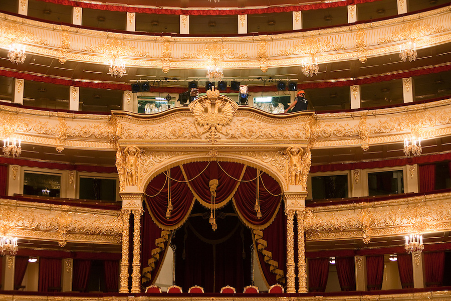 Moscow, Russia, 08/10/2011..A worker climbs over the top of the Tsar's Box in the Bolshoi Theatre during a press tour showcasing the almost completed renovation work. The building has been closed for repairs since 2005 and is scheduled to reopen on October 28th 2011.