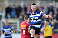 Freddie Burns of Bath Rugby celebrates his first half try. Aviva Premiership match, between Bath Rugby and Harlequins on November 25, 2017 at the Recreation Ground in Bath, England. Photo by: Patrick Khachfe / Onside Images
