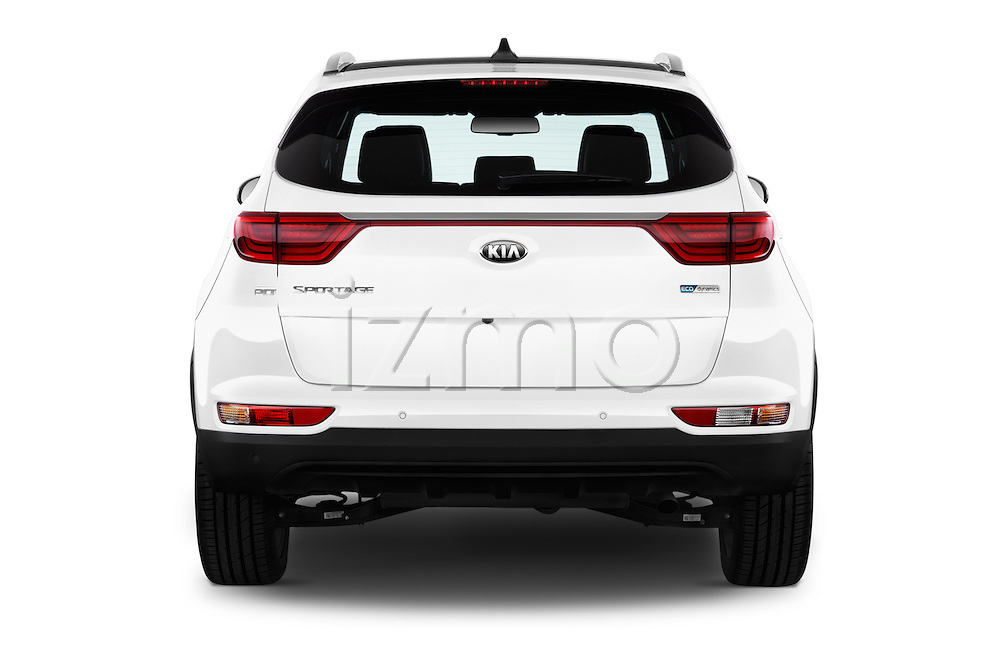 Straight rear view of 2016 KIA Sportage Sense 5 Door Suv Rear View  stock images