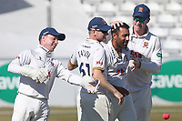 Ravi Bopara of Essex celebrates with his team mates after taking the wicket of Tom Abell during Essex CCC vs Somerset CCC, Specsavers County Championship Division 1 Cricket at The Cloudfm County Ground on 27th June 2018