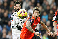Real Madrid's Isco (l) and Real Sociedad's Inigo Martinez during La Liga match.January 31,2015. (ALTERPHOTOS/Acero) /NortePhoto<br />