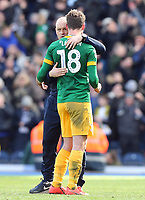 Preston North End manager Alex Neil embraces Ryan Ledson as they celebrate at the final whistle<br /> <br /> Photographer Rich Linley/CameraSport<br /> <br /> The EFL Sky Bet Championship - Blackburn Rovers v Preston North End - Saturday 9th March 2019 - Ewood Park - Blackburn<br /> <br /> World Copyright © 2019 CameraSport. All rights reserved. 43 Linden Ave. Countesthorpe. Leicester. England. LE8 5PG - Tel: +44 (0) 116 277 4147 - admin@camerasport.com - www.camerasport.com