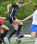 Columbia's Haley Glover (left) controls the ball in the Class 1A girls soccer supersectional game played at Columbia High School in Columbia, IL on Tuesday May 21, 2019.<br /> Tim Vizer/Special to STLhighschoolsports.com