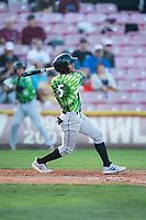 Eugene Emeralds center fielder Fernando Kelli (5) follows through on his swing during a Northwest League game against the Salem-Keizer Volcanoes at Volcanoes Stadium on August 31, 2018 in Keizer, Oregon. The Eugene Emeralds defeated the Salem-Keizer Volcanoes by a score of 7-3. (Zachary Lucy/Four Seam Images)
