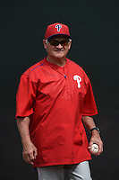 Philadelphia Phillies coach Mike Compton during a minor league spring training intrasquad game on March 27, 2015 at the Carpenter Complex in Clearwater, Florida.  (Mike Janes/Four Seam Images)