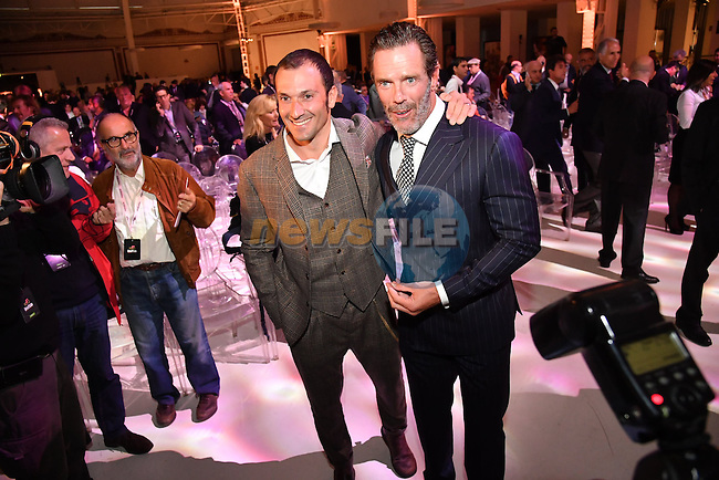 Ivan Basso and Mario Cipollini at the 100th edition Giro d`Italia 2017 route presentation held at the Ice Palace in Milan, 25th October 2016.<br /> Picture: ANSA/Luca Zennaro | Newsfile<br /> <br /> <br /> All photos usage must carry mandatory copyright credit (&copy; Newsfile | ANSA/Luca Zennaro)