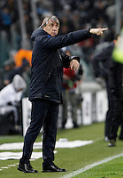 Calcio, Serie A: Juventus vs Inter. Torino, Juventus Stadium, 28 February 2016.<br /> Inter's coach Roberto Mancini gestures during the Italian Serie A football match between Juventus and Inter at Turin's Juventus Stadium, 28 February 2016.<br /> UPDATE IMAGES PRESS/Isabella Bonotto