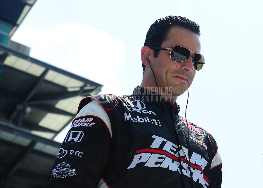 May 30, 2010; Indianapolis, IN, USA; IndyCar Series driver Helio Castroneves during the Indianapolis 500 at the Indianapolis Motor Speedway. Mandatory Credit: Mark J. Rebilas-