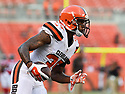 CLEVELAND, OH - AUGUST 18, 2016: Defensive back Don Jones #35 of the Cleveland Browns carries the ball prior to a preseason game on August 18, 2016 against the Atlanta Falcons at FirstEnergy Stadium in Cleveland, Ohio. Atlanta won 24-13. (Photo by: 2016 Nick Cammett/Diamond Images) *** Local Caption *** Don Jones