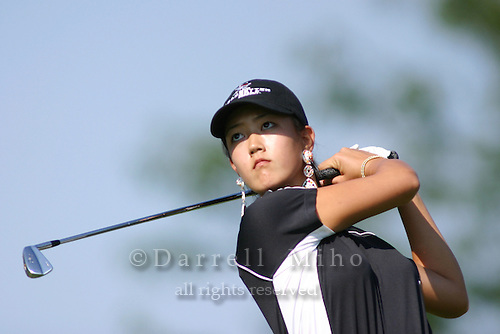 August 21, 2004; Dublin, OH, USA;  14 year old amateur Michelle Wie tees off during the 3rd round of the Wendy's Championship for Children golf tournament held at Tartan Fields Golf Club.  <br />