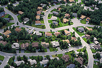 Aerial view of neighborhoods, Anchorage, Alaska. Anchorage Alaska United States neighborhoods.