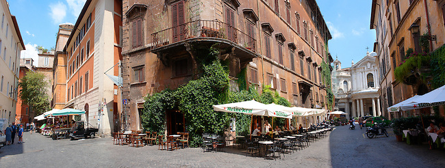 Cobbled streets and cafes of the Plazza Navona region of  Rome