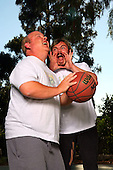 Tenacious D - Kyle Gass and Jack Black photographed exclusively playing basketball in Sherman Oaks, CA USA - July 7, 2008.  Photo: © Zach Cordner / IconicPix
