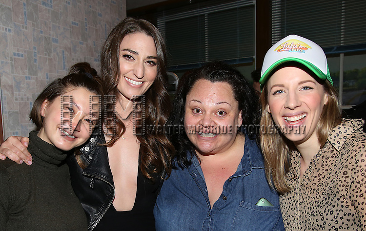 Kimiko Glenn, Sara Bareilles, Keala Settle and Jessie Mueller during the Actors' Equity Gypsy Robe Ceremony honoring Charity Angel Dawson for 'Waitress' at the Brooks Atkinson Theatre on April 24, 2016 in New York City.