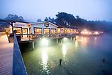 USA, California, Nick's Cove Restaurant at night, Tomales Bay
