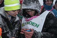 Finish of junior Iditarod  Conway Seavey.
