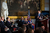 U.S. House Speaker Paul Ryan, a Republican from Wisconsin, speaks during a congressional Gold Medal ceremony for former Senator Bob Dole, in Washington D.C., U.S., on Wednesday, Jan. 17, 2018. From left: U.S. Vice President Mike Pence, U.S. President Donald Trump, former Senator Bob Dole, Senate Majority Leader Mitch McConnell, a Republican from Kentucky,  Senate Minority Leader Chuck Schumer, a Democrat from New York, and House Minority Leader Nancy Pelosi, a Democrat from California. Photographer: Al Drago/Bloomberg<br /> Credit: Al Drago / Pool via CNP
