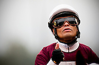 Martin Pedroza celebrates a win in the 2012 Santa Anita Oaks at Santa Anita Park in Arcadia California on March 31, 2012.
