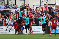 Welling goalkeeper, Dan Wilks, punches the ball clear to foul a Charlton attack during Welling United vs Charlton Athletic, Friendly Match Football at the Park View Road Ground on 13th July 2019