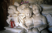 Italy, Fiesole, statues in cemetery