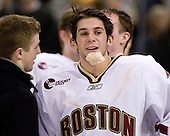 Brock Bradford (BC 19) talks to Brian Gibbons (BC 17). The Boston College Eagles defeated the Harvard University Crimson 6-5 in overtime on Monday, February 11, 2008, to win the 2008 Beanpot at the TD Banknorth Garden in Boston, Massachusetts.