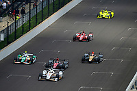 Verizon IndyCar Series<br /> Indianapolis 500 Race<br /> Indianapolis Motor Speedway, Indianapolis, IN USA<br /> Sunday 28 May 2017<br /> Helio Castroneves, Team Penske Chevrolet, Mikhail Aleshin, Schmidt Peterson Motorsports Honda, Spencer Pigot, Juncos Racing Chevrolet, James Hinchcliffe, Schmidt Peterson Motorsports Honda, Graham Rahal, Rahal Letterman Lanigan Racing Honda, Simon Pagenaud, Team Penske Chevrolet<br /> World Copyright: F. Peirce Williams<br /> LAT Images