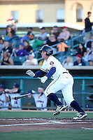 Marc Wik (11) of the Lancaster JetHawks bats against the High Desert Mavericks at The Hanger on April 16, 2016 in Lancaster, California. Lancaster defeated High Desert, 3-2. (Larry Goren/Four Seam Images)