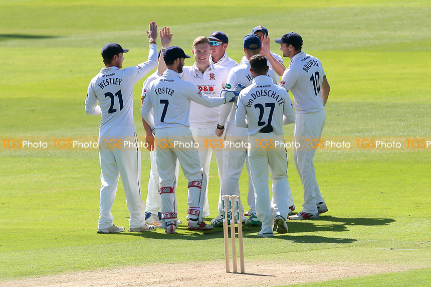 Sam Cook of Essex celebrates with his team mates after taking the wicket of Harry Brook during Essex CCC vs Yorkshire CCC, Specsavers County Championship Division 1 Cricket at The Cloudfm County Ground on 4th May 2018