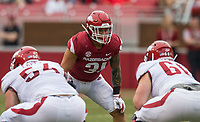Hawgs Illustrated/BEN GOFF <br /> Grant Morgan, Arkansas linebacker, lines up in the first quarter Saturday, April 6, 2019, during the Arkansas Red-White game at Reynolds Razorback Stadium.