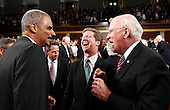 United States Attorney General Eric Holder, left, U.S. Housing and Urban Development Secretary Shaun Donovan, center, and U.S. Senator Patrick Leahy (Democrat of Vermont) share a laugh as they wait for the for the arrival of U.S. President Barack Obama, who will address a joint session of the United States Congress on the subject of job creation on Capitol Hill in Washington, September 8, 2011.    .Credit: Kevin Lamarque / Pool via CNP.