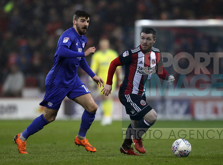John Fleck of Sheffield Utd in action during the Championship match at Bramall Lane Stadium, Sheffield. Picture date 02nd April, 2018. Picture credit should read: Simon Bellis/Sportimage
