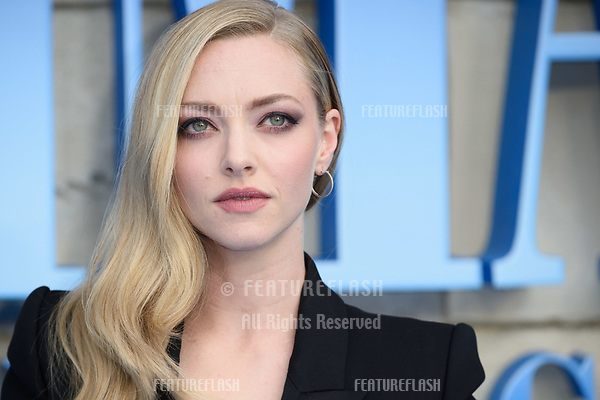 """Amanda Seyfried arriving for the """"Mama Mia! Here We Go Again"""" world premiere at the Eventim Apollo, Hammersmith, London, UK. <br /> 16 July  2018<br /> Picture: Steve Vas/Featureflash/SilverHub 0208 004 5359 sales@silverhubmedia.com"""