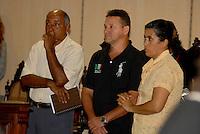 """Amair Feijoli da Cunha e sua esposa.<br /> O fazendeiro Regivaldo Pereira Galvão, o """"Taradão"""", acusado de ser o principal mandante da morte da missionária Dorothy Stang, ocorrida na manhã de 12 fevereiro de 2005, em Anapu, enfrenta hoje o Tribunal do Júri no Fórum Criminal de Belém.<br /> Belém Pará Brasil<br /> Paulo Santos<br /> 30 04 2010"""