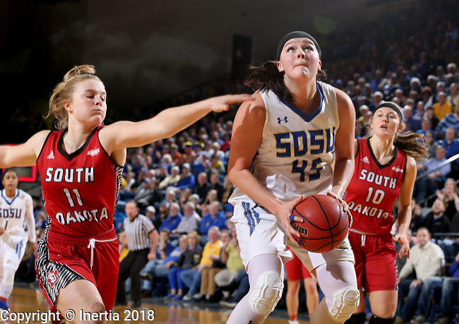 BROOKINGS, SD - JANUARY 25: Ellie Thompson #45 from South Dakota State University eyes the basket past Monica Arens #11 from the University of South Dakota during their game Thursday night at Frost Arena in Brookings. (Photo by Dave Eggen/Inertia)